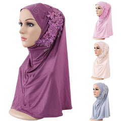 Fashion Lace Flower Rhinestone Decor Women Scarf Muslim Hijab Head Wrap Headwear