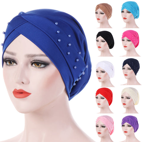 Women Beads Elastic Turban Hat Muslim Cancer Chemo Cap Hijab Head Wrap