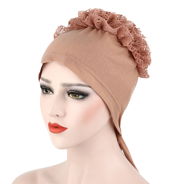 Lace Floral Muslim Hijab Cap Solid Color Stretch Chemo Hat Women's Head Scarf