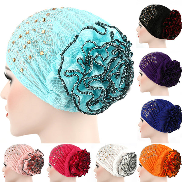 Fashion Floral Glitter Muslim Hijab Cap Solid Color Stretch Women Turban Hat