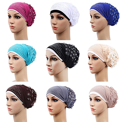 Fashion Women Muslim Stretch Turban Hat Chemo Cap Hair Loss Head Scarf Hijab Cap