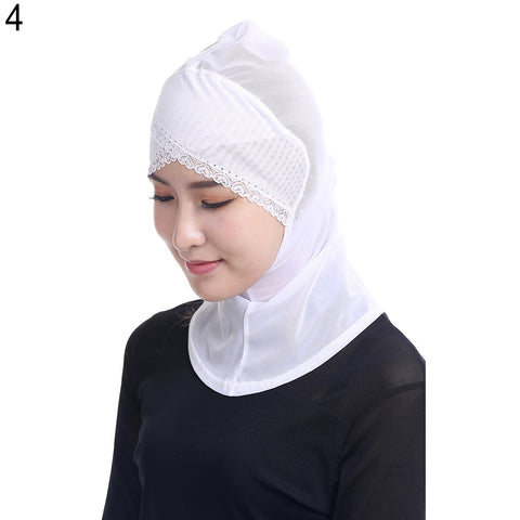 Fashion Gauze Cross Forehead Lace Rim Women Muslim Hijab Hat Elastic Turban Wrap