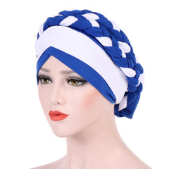 Fashion Double Color Long Braid Women's Muslim Hijab Head Wrap Hat Headwear