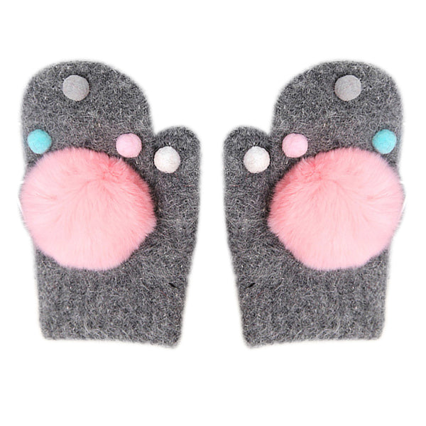 Baby Gloves Cute Pompom Balls Cartoon Thicken Autumn Winter Warm Accessories