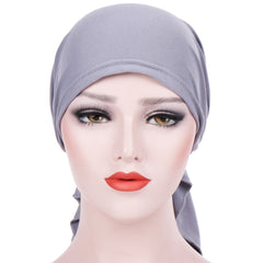 Elegant Solid Color Ruffle Silky Head Wrap Turban Elastic Muslim Women Hijab