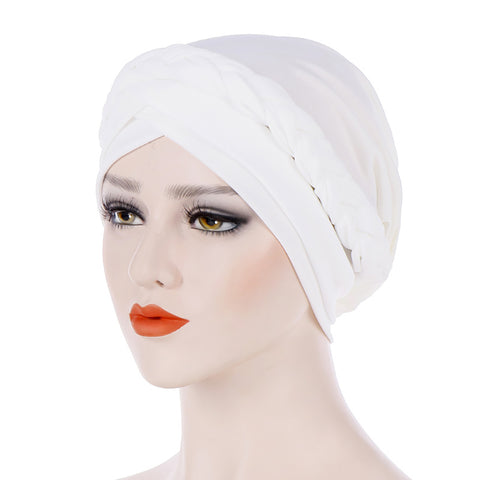 Fashion Women Solid Color Braid Muslim Hijab Turban Head Wrap Hat Chemo Cap