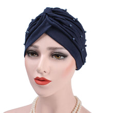 Load image into Gallery viewer, Scarfs & Scarves,Women Turban Hat Faux Pearl Pleated Muslim Hijab Stretch Cap Chemo Head Scarf,guiro,Zeinab Fashion.