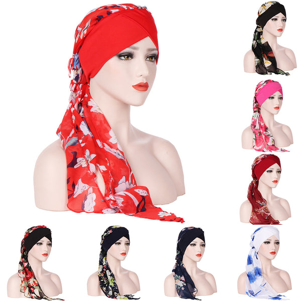 Fashion Floral Printed Women Scarf Muslim Hijab Head Wrap Long Tail Hat Headwear