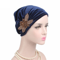 Beads Flower Women Cancer Chemo Velvet Hat Muslim Beanie Turban Head Wrap Cap