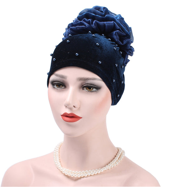Fashion Women Flower Faux Pearl Headband Beanie Hat Muslim Hair Cap Head Wrap