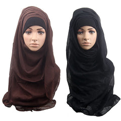 Fashion Women Muslim Long Soft Hijab Wrap Islamic Shawl Scarf Cap Head Cover