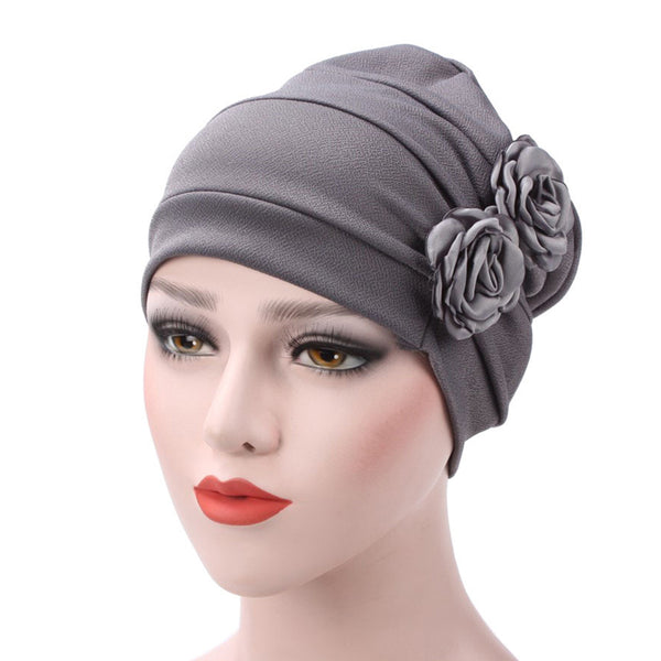 Women's Rose Flowers Muslim Beanie Cap Snood Cancer Hat for Chemo Hair Loss
