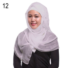 Women Solid Color Islamic Muslim Headscarf Silky Hijab Head Covering Scarf Shawl