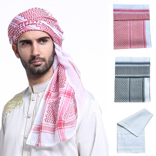 Geometric Muslim Men Hijab Scarf Islamic Shawl Arab Long Headscarf Underscarf