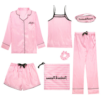 Summer seven-piece suit sexy suspenders ice silk pajamas