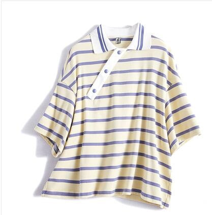Slanting door placket loose lapel striped short-sleeved t-shirt female short paragraph