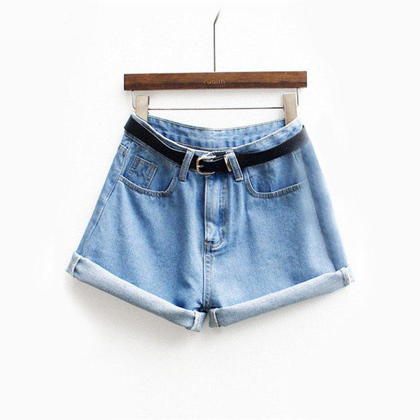 Mid Waist Denim Blue Shorts