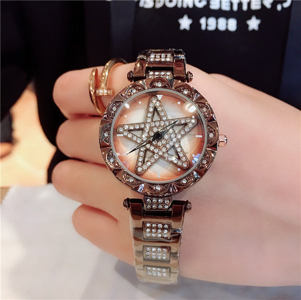 Explosive models to run the watch female fashion personality diamond-encrusted steel waterproof starry ladies watch