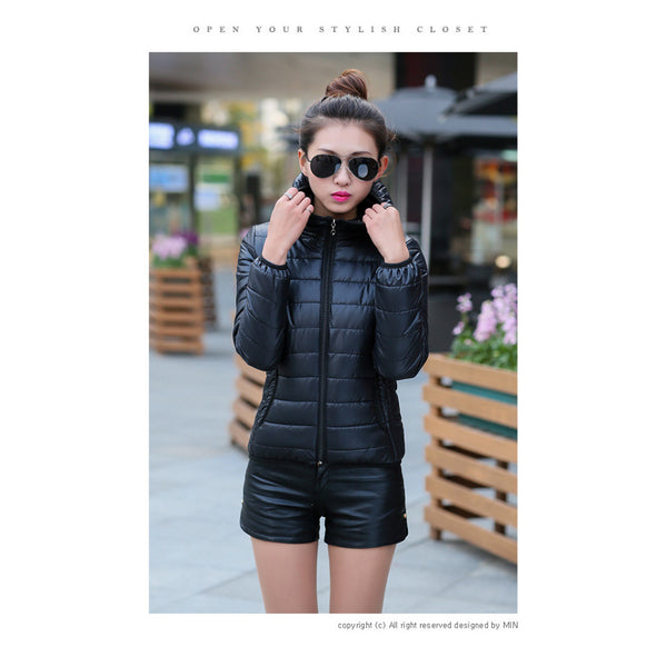 2016 Winter Dresses Down Padded Short Hooded Coat Slim Female Students Thickened Fruit Color Cotton Padded Jacket