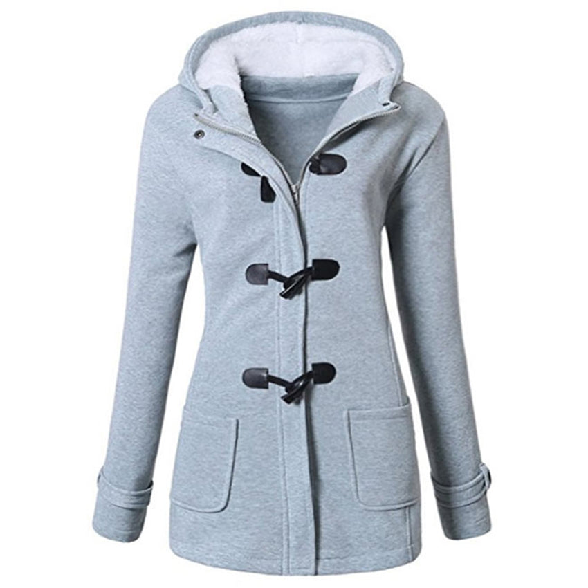 Plus Size Women's Clothing - Hooded Plus Size Duffle Jacket Women's Fall Winter Polyester Coat - guiro - Zeinab Fashion