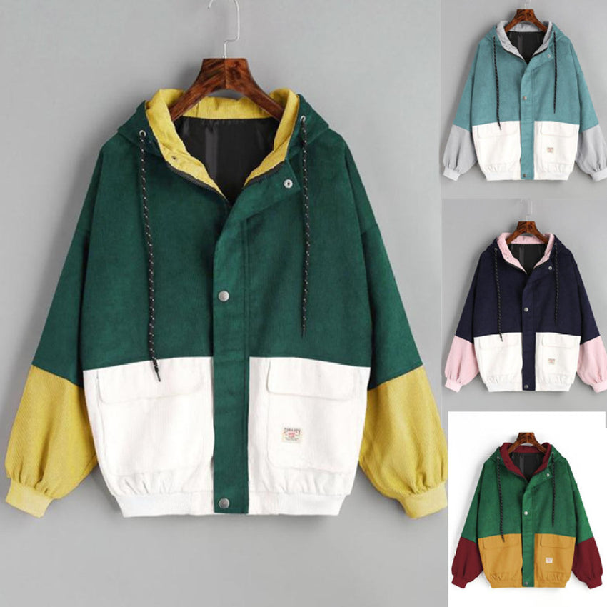 2018 Korean Version Of College Wind Student BF Loose Color Matching Hooded Baseball Uniform Corduroy Tooling Jacket Female