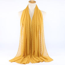 Load image into Gallery viewer, ,2020 NEW Flocked Bubble Chiffon Scarf Hijabs For Muslim Women Solid Color Breathable Islamic Headscarf Arab Head Scarves,guiro,Zeinab Fashion.