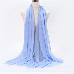 2019 Fashion Bubble Plain Cotton Scarf Fringes Women Soft Solid Wrinkle Muffler Shawl Pashmina Wrap Muslim Crinkle Hijabs Stoles