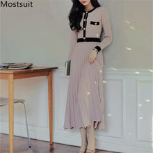 Load image into Gallery viewer, ,2020 Autumn Korean Knitted Women Long Pleated Dress Women Long Sleeve Single-breasted A-line Dresses Elegant Ladies Vestidos,guiro,FreeDropship.