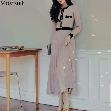 ,2020 Autumn Korean Knitted Women Long Pleated Dress Women Long Sleeve Single-breasted A-line Dresses Elegant Ladies Vestidos,guiro,FreeDropship.