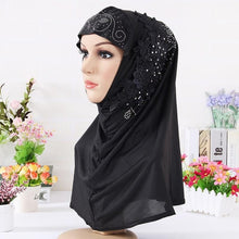 Load image into Gallery viewer, ,2020 Fashion Women Muslim Headscarf Solid Cotton Flower Diamond Islamic Hijab Scarf Shawls and Wraps Ready To Wear Hijabs,guiro,Zeinab Fashion.