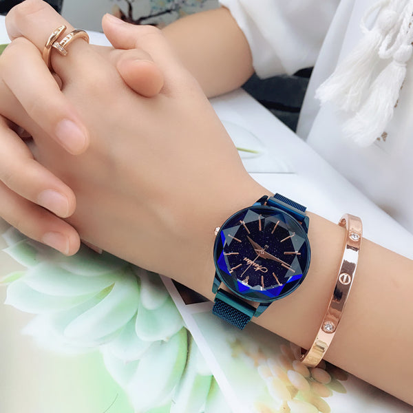 Star-cut face waterproof student watch