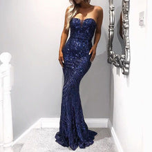 Load image into Gallery viewer, Clothing,SEXY TUBE TOP STRAPLESS SEQUINS ELEGANT EVENING DRESS,guiro,Zeinab Fashion.