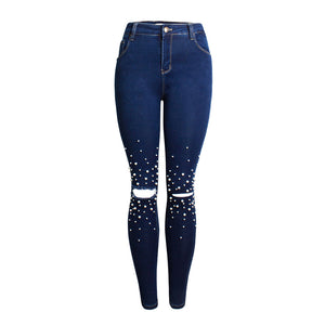 Clothing,2020 new high waist slim feet pants pencil pants pearl ladies denim trousers,guiro,Zeinab Fashion.