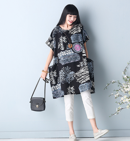 Spring and summer women's new loose 200 kg large size fat MM primer skirt art van wash cotton and linen dress
