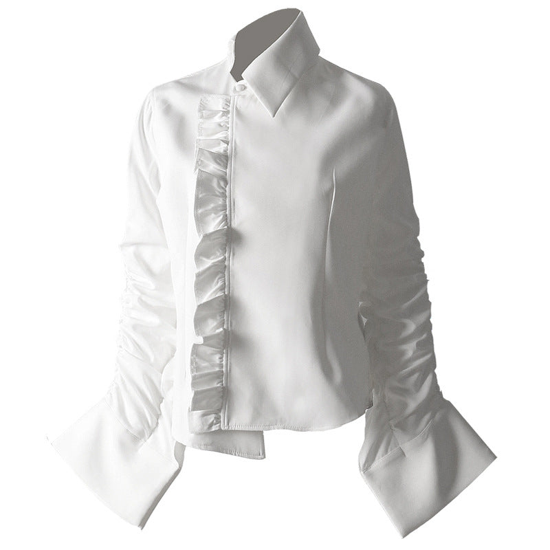 European Station Spring and Summer New Design Sense White Shirt Women''s Asymmetrical Pleated Individual Minority Shirt 1075
