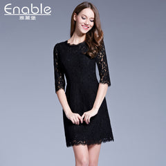 spring Europe station lace dress woman big size woman dress seven point sleeve dress