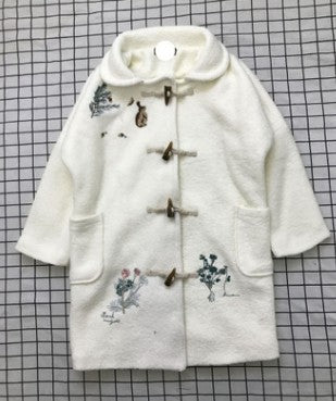 Pastoral style rabbit embroidered ox horn buckle long windbreaker coat