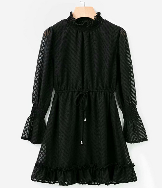 High collar black lace dress female autumn and winter sexy transparent stripes long sleeve elegant party skirt