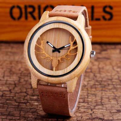 Manufacturers supply trade explosion of popular wood table environmental protection wooden watch fashion leather wooden watch spot