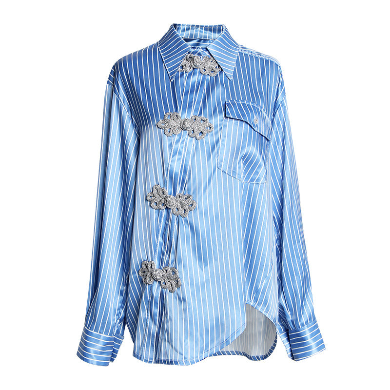 Clothing,National wind shirt female 2020 spring new niche designer retro striped diagonal door shackle buckle asymmetric shirt,guiro,Zeinab Fashion.