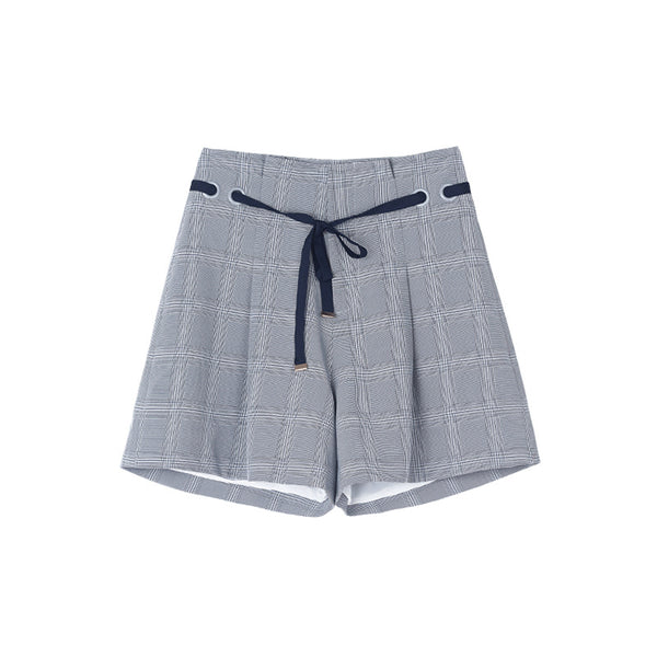 Women Plaid Wide Thigh Shorts