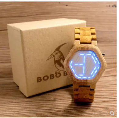 Watches,BOBO BIRD LED Bamboo Wood Watches Digital Watch Men Kisai Night Vision Calendar Wristwatch for Men Minimal Time Display C-eE03,guiro,Zeinab Fashion.