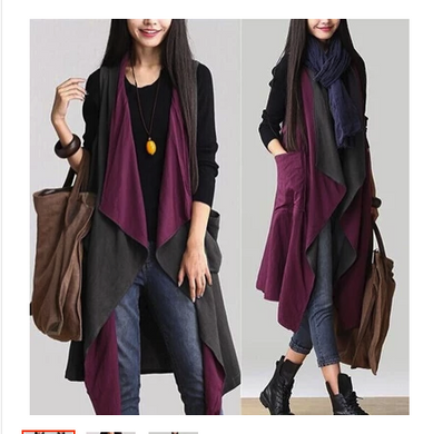 Spring and autumn new Korean women's vest wearing shawl loose large size color matching two coat jacket vest