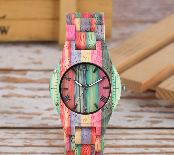 Slim fashion colorful bamboo and wood watch, wooden watch quartz watch wood table