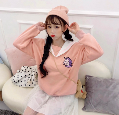 Loose long sleeve navy collar unicorn embroidery plus velvet sweater coat