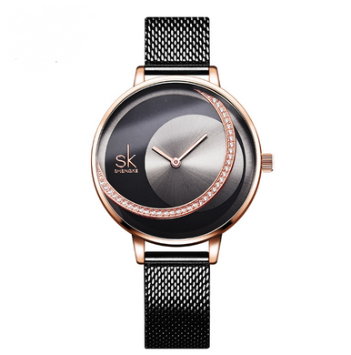 Watches,New victory engraved rhinestone women's watch sun pattern rose gold watch mesh belt belt ladies watch,guiro,Zeinab Fashion.