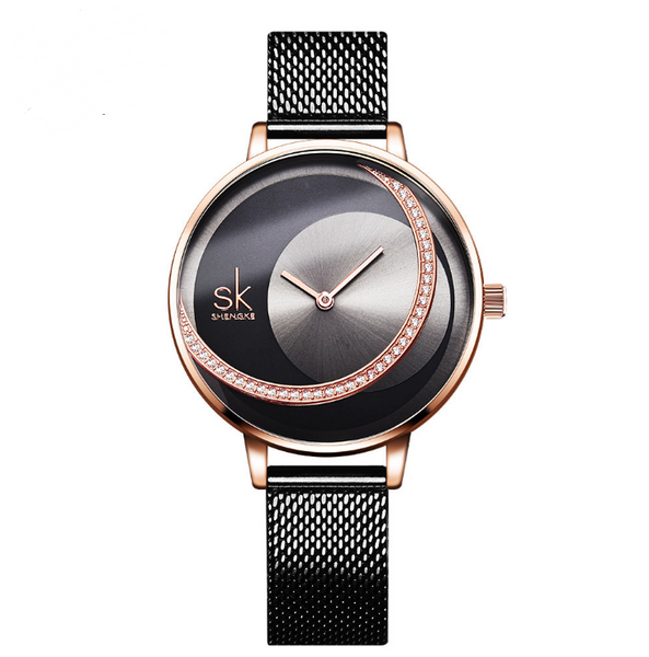 New victory engraved rhinestone women's watch sun pattern rose gold watch mesh belt belt ladies watch
