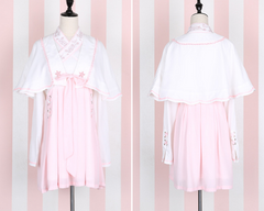 Kawaii Girls Sakura Lolita Chinese Style 2Pcs Dress Set Long Sleeve Cross V-collar white & Pink Chiffon Dress + Cape