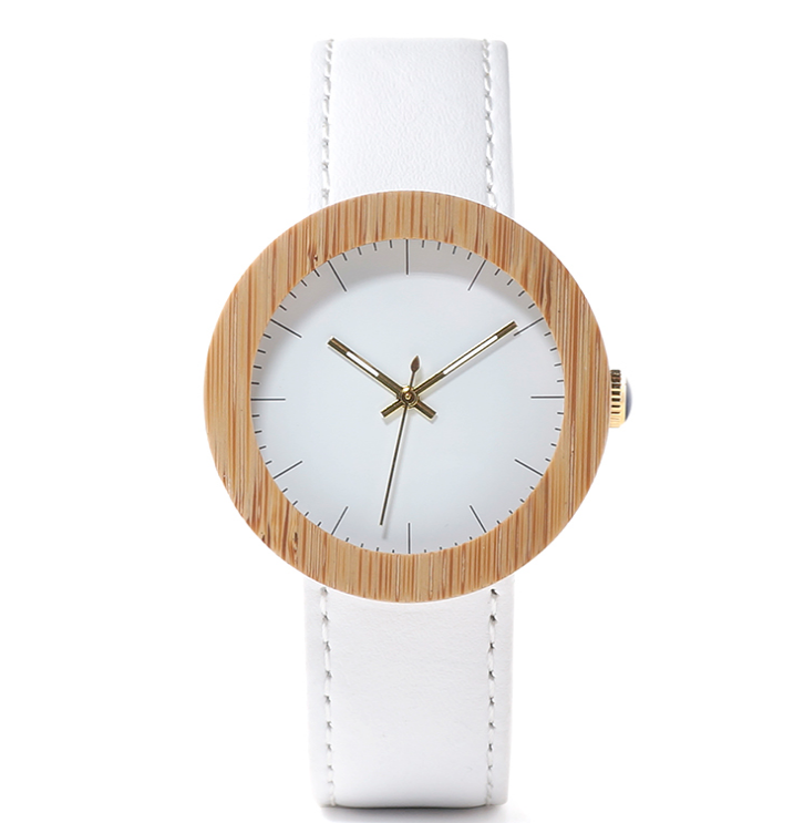 Wood table handmade hot bamboo wood leather belt quartz movement female watch