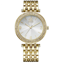 Load image into Gallery viewer, Watches,Shengke Luxury Women Watch Brands Crystal Sliver Dial Fashion Design Bracelet Watches Ladies Womenwrist Watches Relogio Feminino,guiro,Zeinab Fashion.